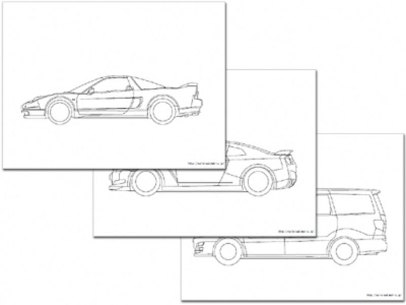 車の塗り絵・CADデータ自動車塗り絵ダウンロード
