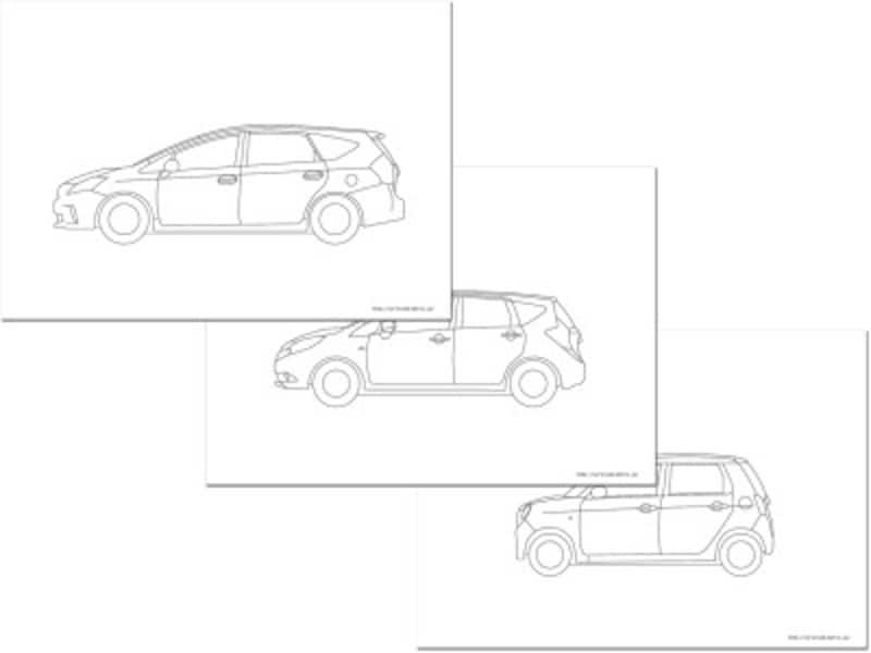 100種類以上の国産車・外国車のぬりえが無料ダウンロードできる『車の塗り絵・CADデータ自動車塗り絵ダウンロード』