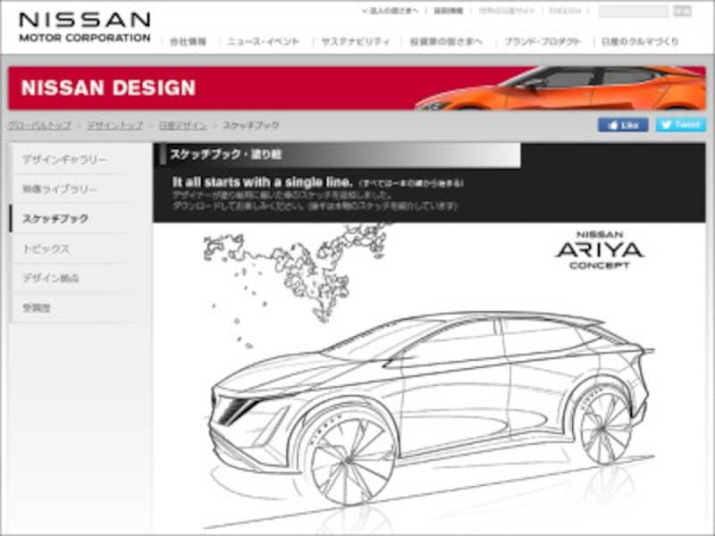 日産自動車スケッチブック・塗り絵