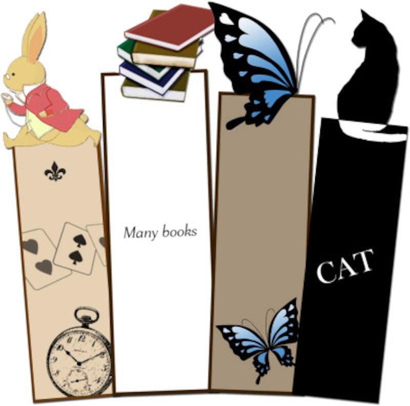 mihoのプリント素材アンティーク風BOOKマーク