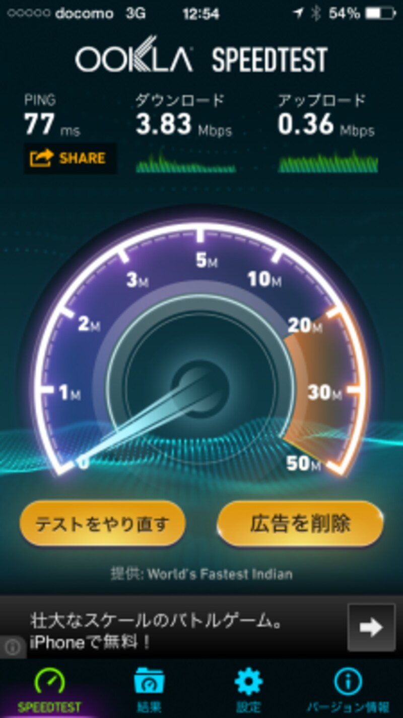 通信例。3G用APNを設定