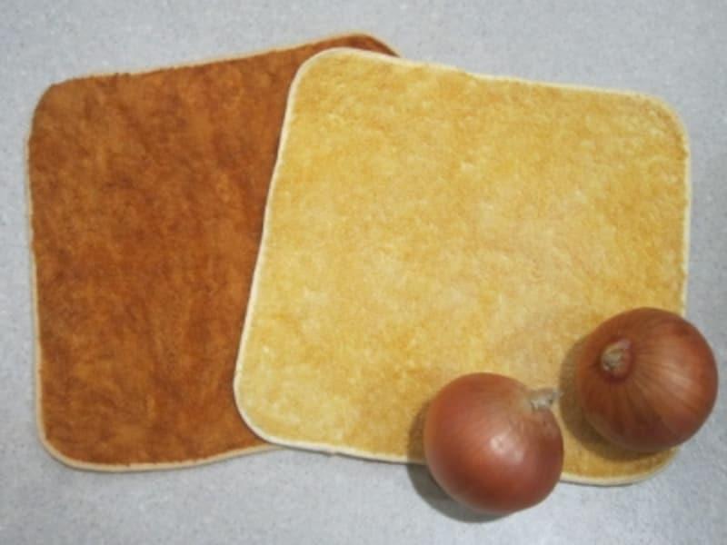 玉ねぎの皮で染めたタオルハンカチ