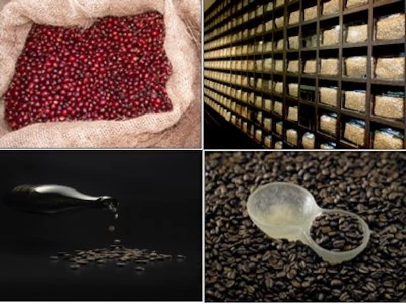 上左/熟練の職人のみが収穫期のピークに3日間ほどで摘み取る完熟豆 上右/世界初のコーヒーセラー 下左/グランクリュカフェの豆 下右/手作りのグランクリュカフェ専用コーヒーメジャー