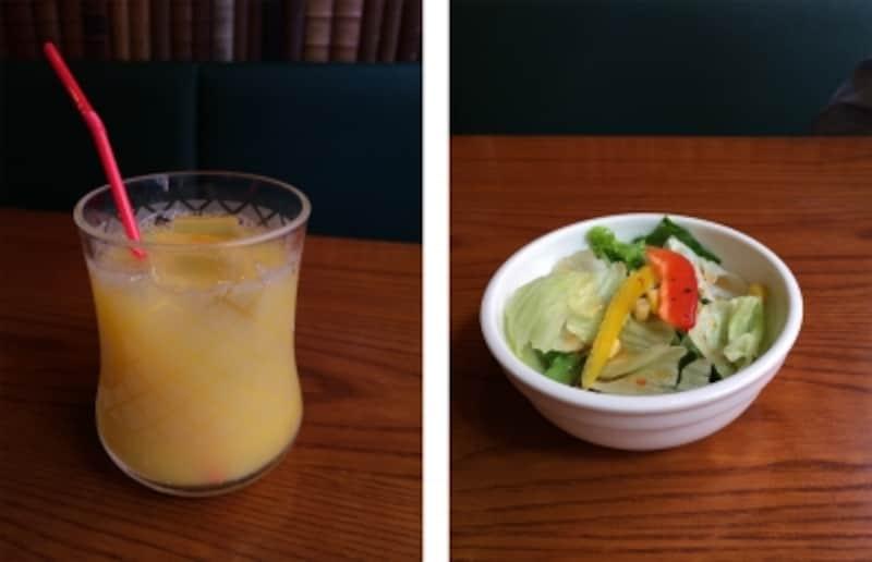 元はサラダとオレンジジュースの2枚の写真。
