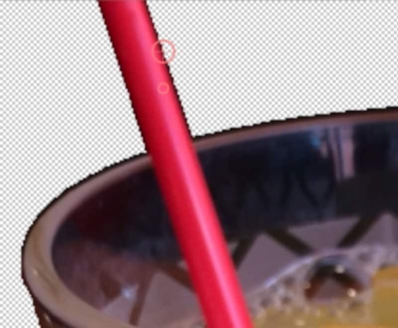 細かい部分は2本指を広げて拡大表示にして、ポイントを消したい部分に重ねて消していきます。