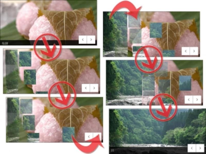Skitterを使った特殊な画像切替効果を伴ったスライドショーの例