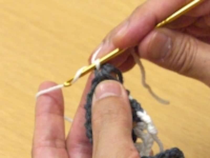 毛糸をかけたところ