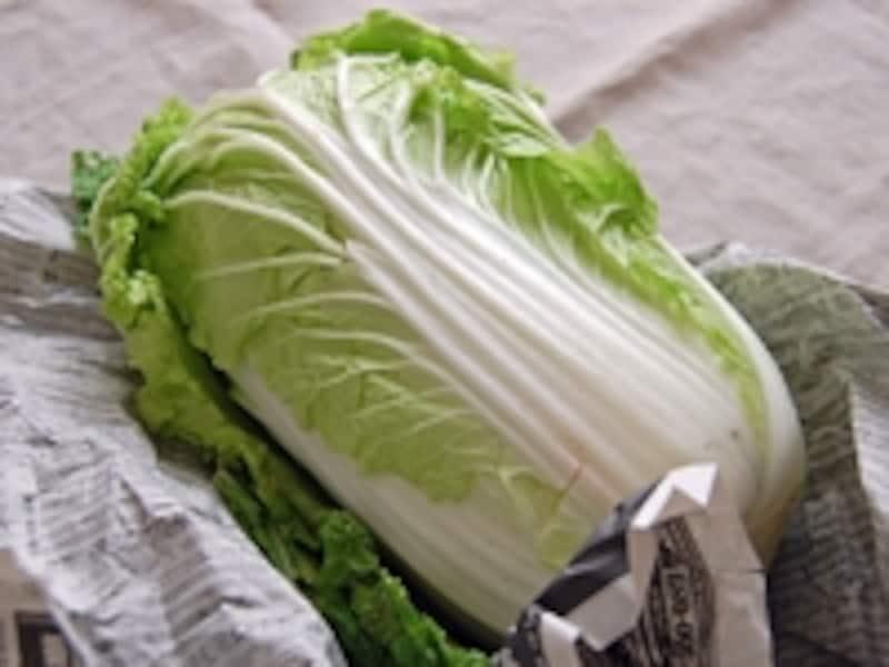 白菜を丸ごと保存する場合:白菜は新聞紙に包んで水分の蒸発を防ぎます。