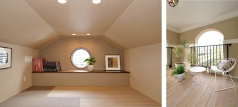 畳敷きで丸窓のある主寝室ロフトは遊び心のあるスペース。屋根と外壁に囲まれたマスターズテラスは、バルコニーよりもプライバシーが保たれやすい空間です