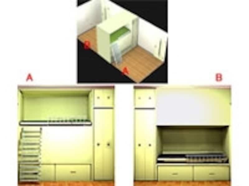 間仕切り壁とベッドと収納を一体化した家具で、部屋を効率よく2つに分ける(一級建築士事務所OfficeYuu)