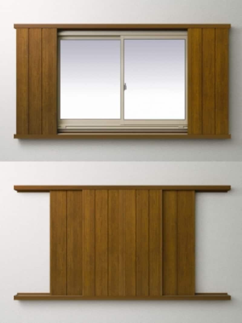 窓を外側からガードする両サイドに引く鋼板製の扉。台風時の飛来物の貫通や窓ガラスの破損を防ぐ。[アウターガード(4枚建)undefined〈上〉全開、サッシ外観H2undefined〈下〉全閉]undefinedYKKAPundefinedhttp://www.ykkap.co.jp/