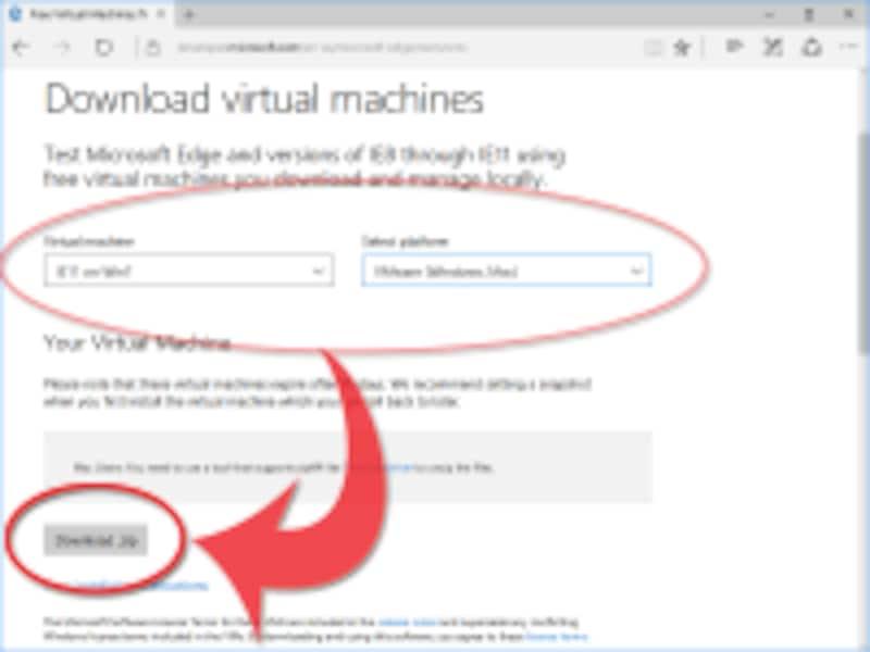 選択した仮想マシンイメージをダウンロードできる「Download.zip」ボタンが現れる