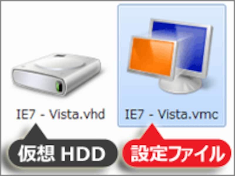 拡張子「.vmc」の仮想マシン設定ファイルをダブルクリック