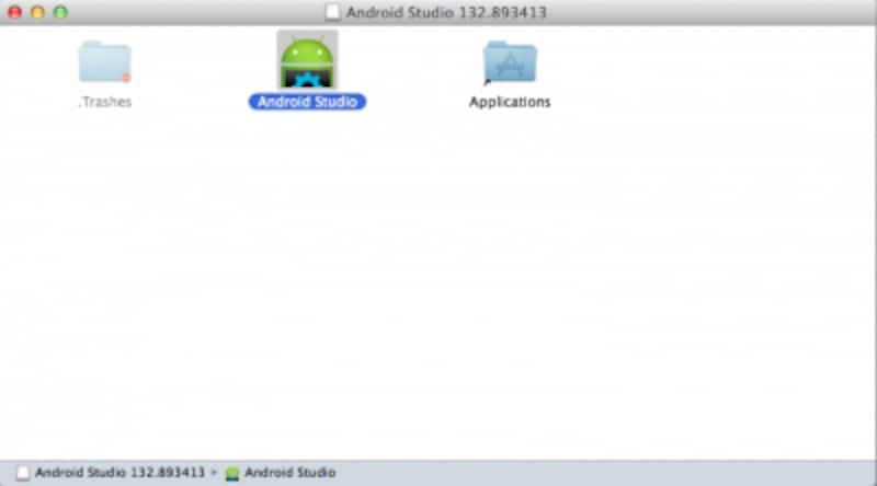AndroidStudioのアイコンをアプリケーションフォルダにドラッグ&ドロップする