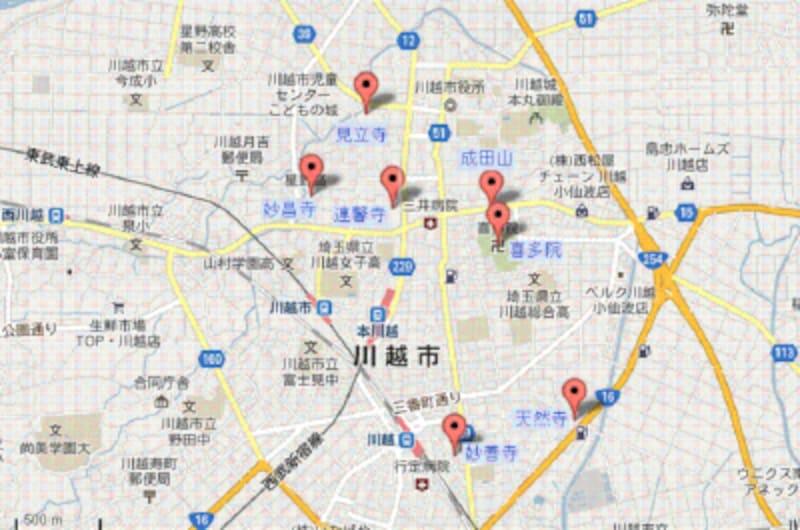 川越七福神MAP