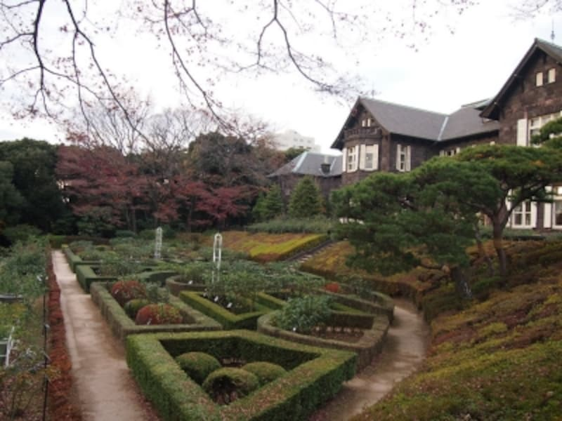 紅葉はこの斜面の下に日本庭園がある