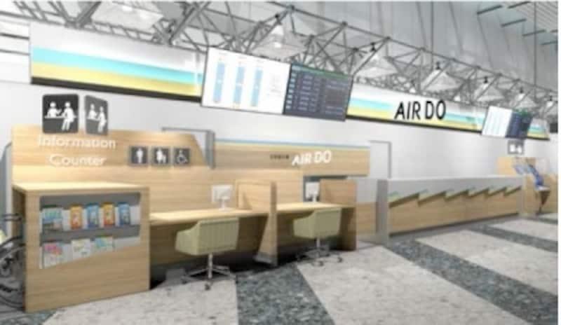 AIRDO,新千歳空港,カウンター
