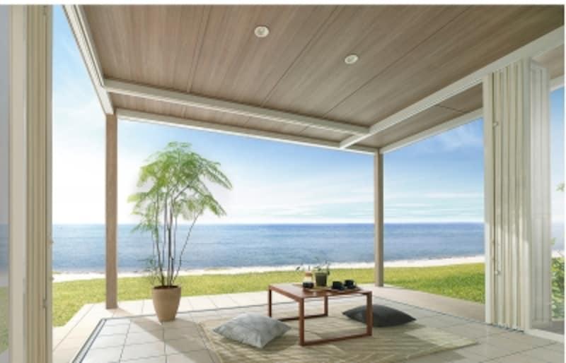 サンルームとは少し異なりますが、天井が軒となっているタイプ。より居室に近いプランニングが可能に。[エクシオールジーマ]LIXILundefinedhttp://www.lixil.co.jp/