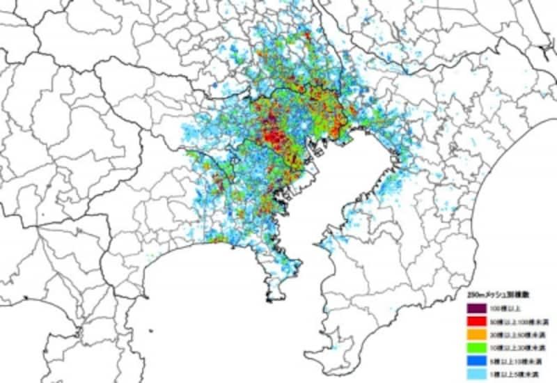 東京南部で直下地震が発生したときの家屋消失数。環七沿いに大規模な火災発生が予想される