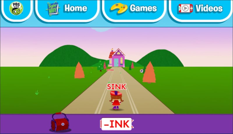 "英単語ゲーム無料 superwhy""Wonder Red's RHYME RACER"""