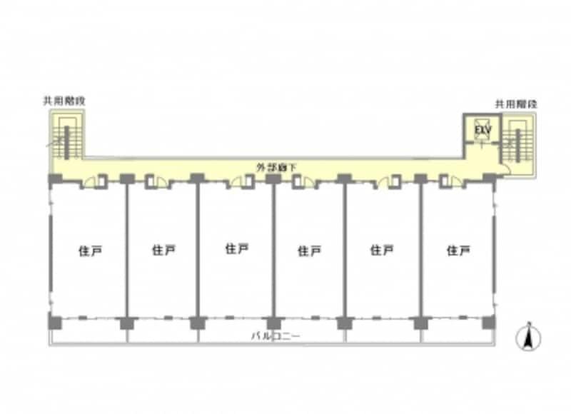【図1】外廊下マンションの平面図例。全戸南向き、共用廊下は北側に配されている。