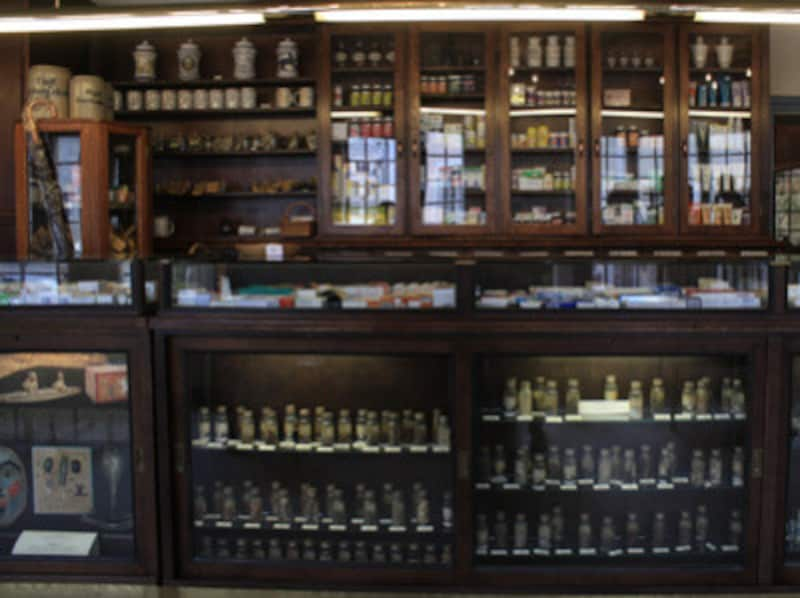薬局の奥の間では、蜂やユニコーンの角(!?)など、怪しげな材料から作られていた薬の展示も見られます