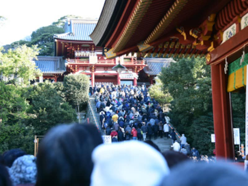 初詣客で大変混雑する正月の鶴岡八幡宮境内