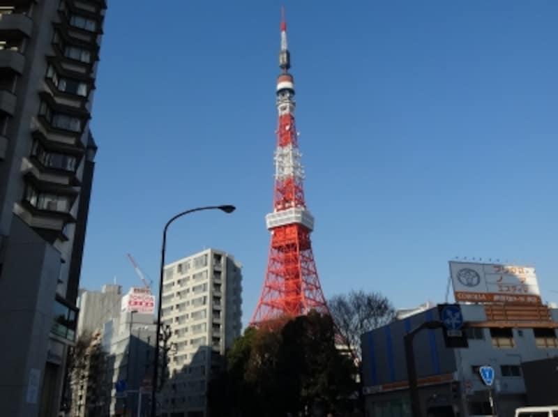 これまでもちらちら見えていた東京タワーが大きくなってきた