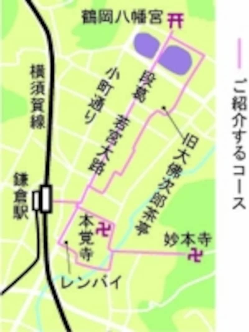 鶴岡八幡宮~妙本寺散策地図