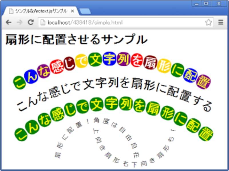 文字列をアーチ状(扇形)に配置した表示例