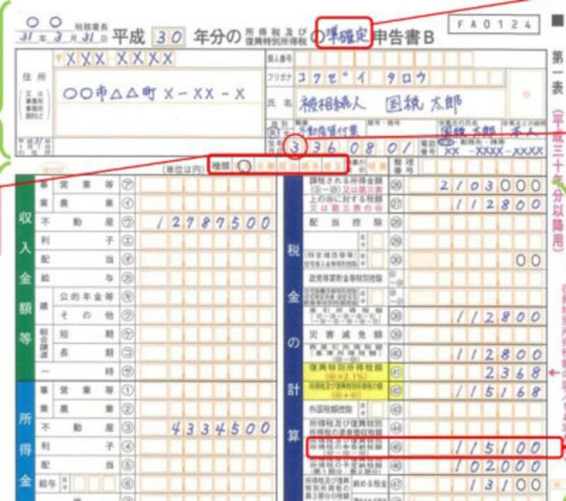 準確定申告書 記載例上部  (出典:国税庁資料より)
