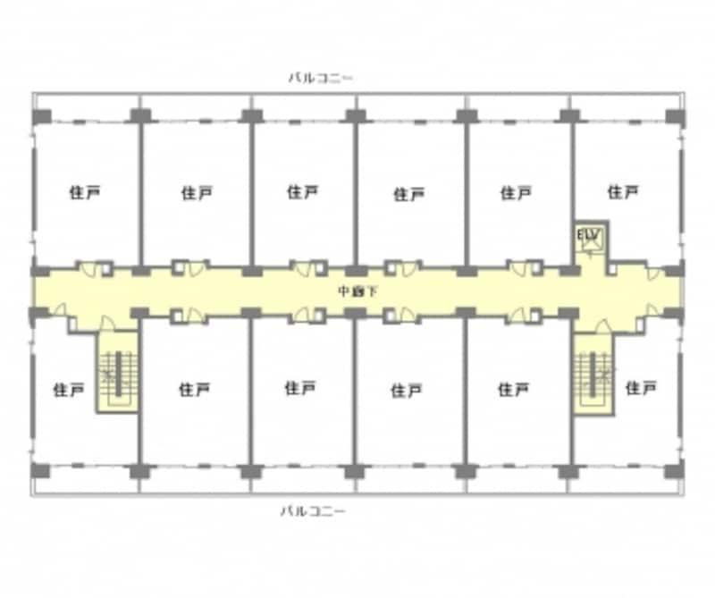 【図1】中廊下型マンションの全体平面図。