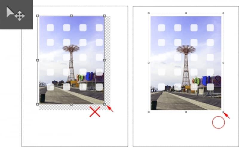 左側のように透明部分が見えてしまうとNG。右側のように白い枠の範囲内で縮小して、見せたい部分をアイコンの間に収める。