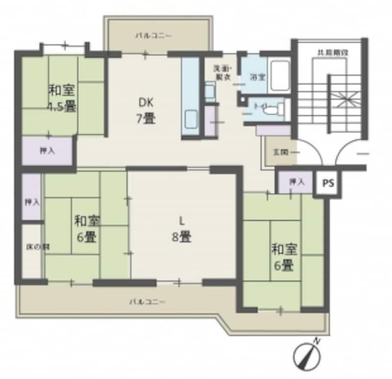 【図2】階段室型集合住宅の間取り例。3LDK、75m2。ファミリー向け。