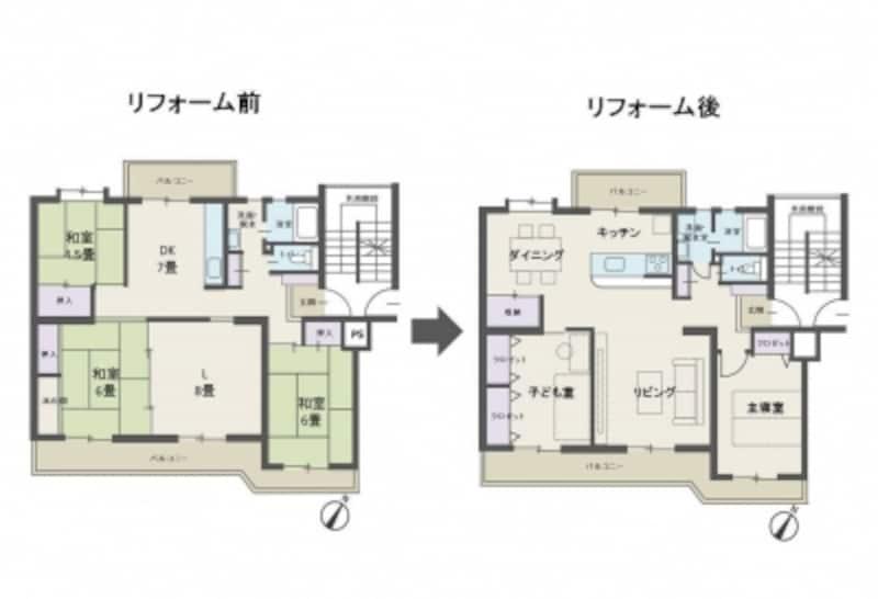 【図3】和室中心の間取りから洋室中心の間取りへ変更した例(クリックで拡大)。
