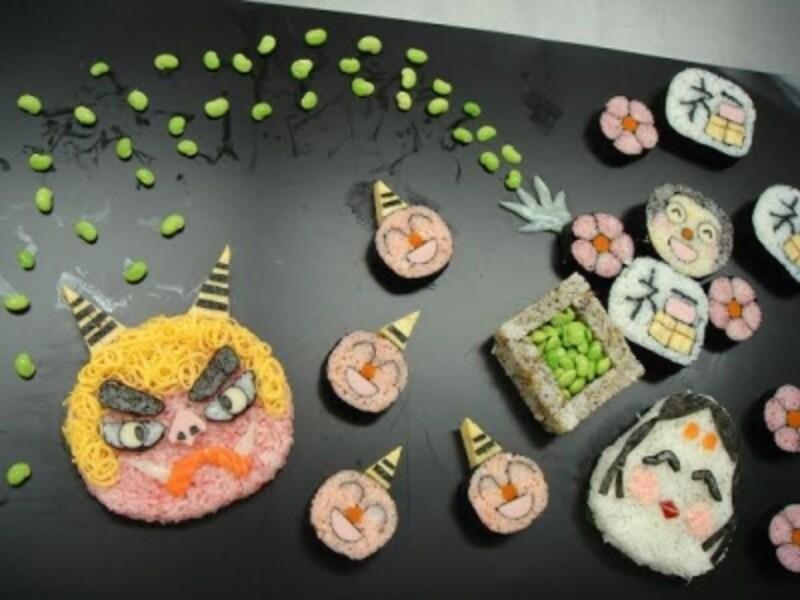 鬼の顔の巻き寿司を作れば盛り上がるはず