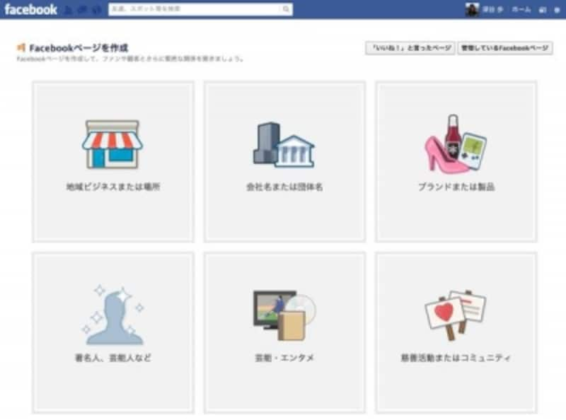 Facebookページ作成画面