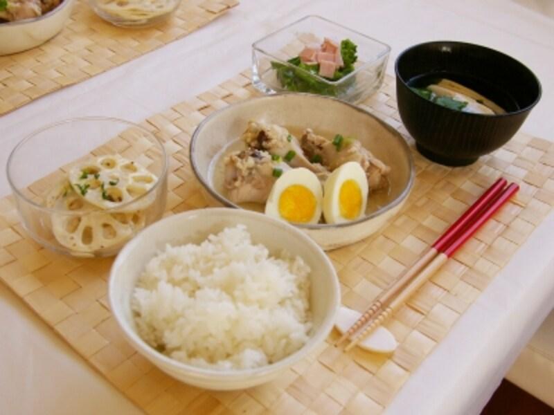 鶏手羽元の塩麹煮定食