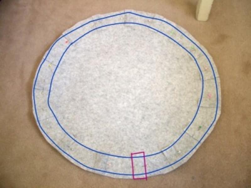紐通しの上下を縫う