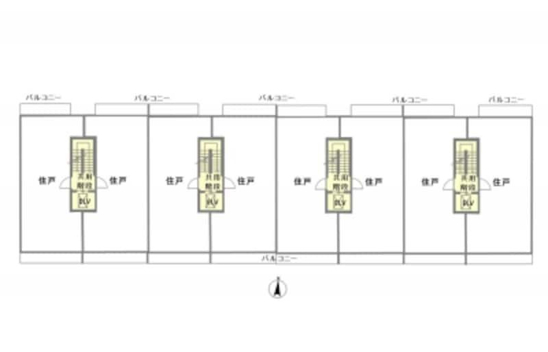 【図1】2戸1型マンションの全体平面図(概念図)。