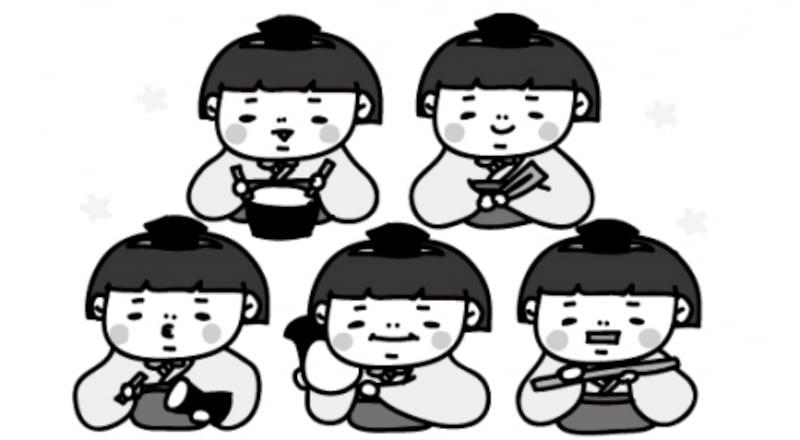 【モノクロ】祭りを盛り上げる五人囃子です。【2018年ひな祭りのイラスト】