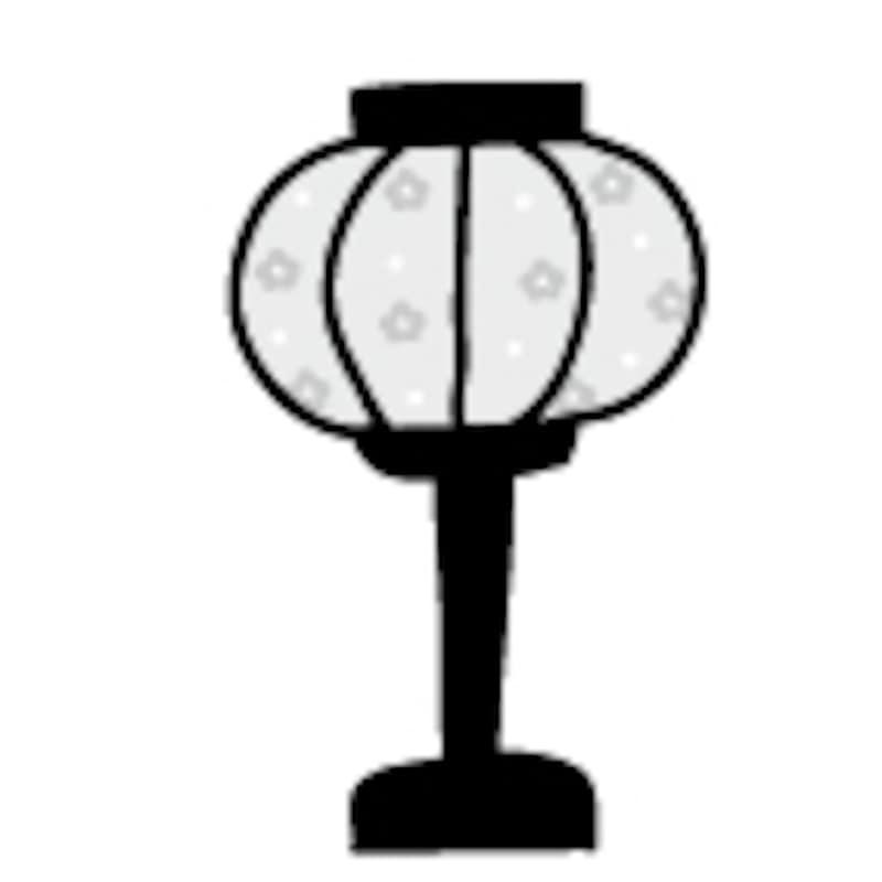 【モノクロ】桃の花模様の雪洞(ぼんぼり)です。【2018年ひな祭りのイラスト】