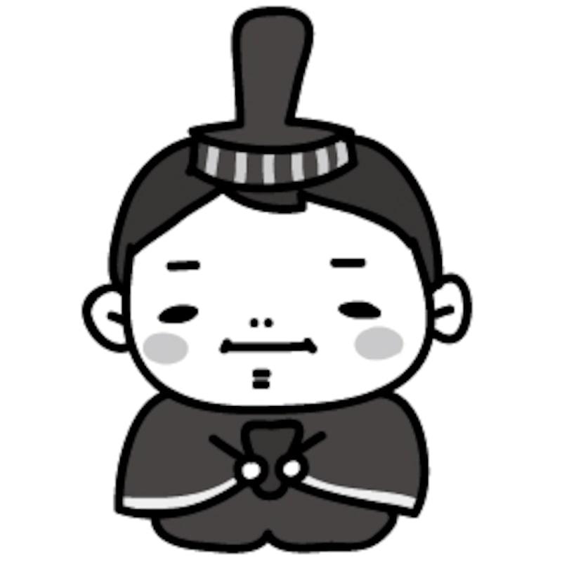 おだいりさま ひな祭り イラスト 白黒 かわいい
