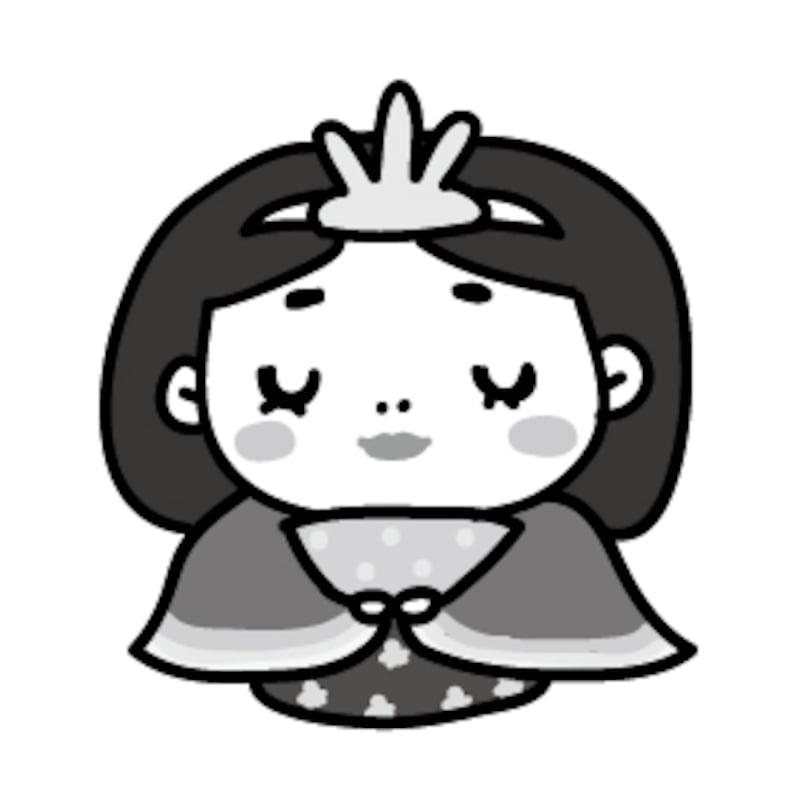 【モノクロ】優しく微笑むお雛様です。【2018年ひな祭りのイラスト】