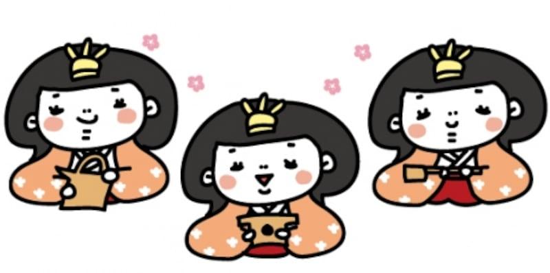 【カラー】元気な3人官女です。【2018年ひな祭りのイラスト】