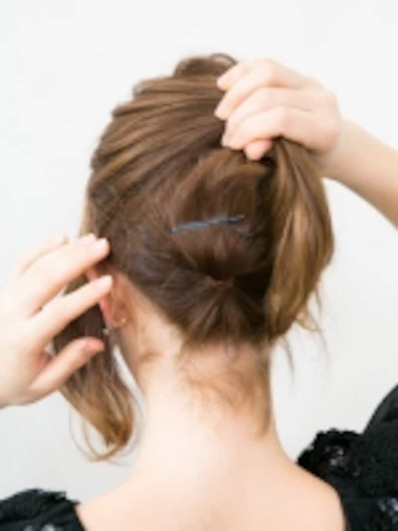 結んだ髪を固定