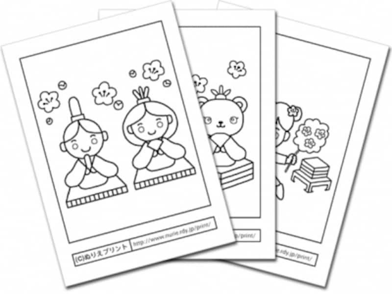 ひな祭りぬりえお雛様や桃の花イラスト塗り絵を無料ダウンロード 子供