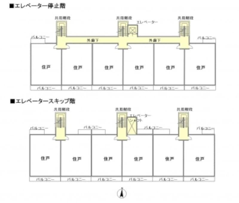 【図1】エレベーターが停止する階と停止しない階の平面図。