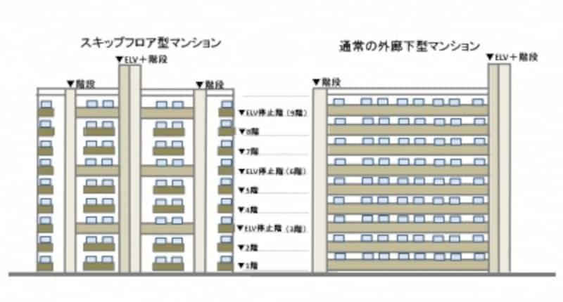 【図2】スキップフロア型と一般的な外廊下型マンションの立面(外観)を比較。