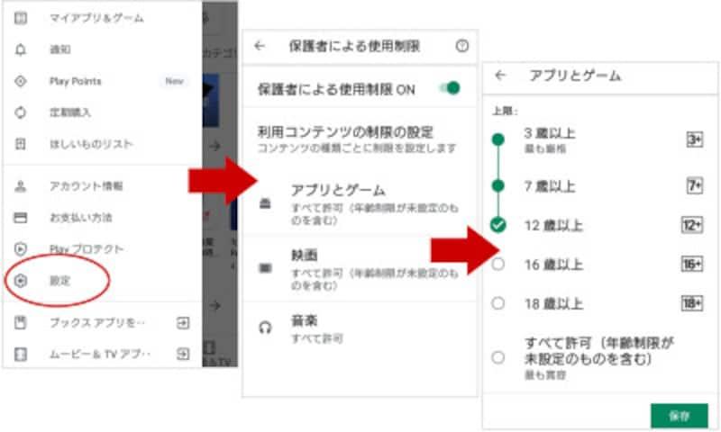 GooglePlay保護者による使用制限の設定画面